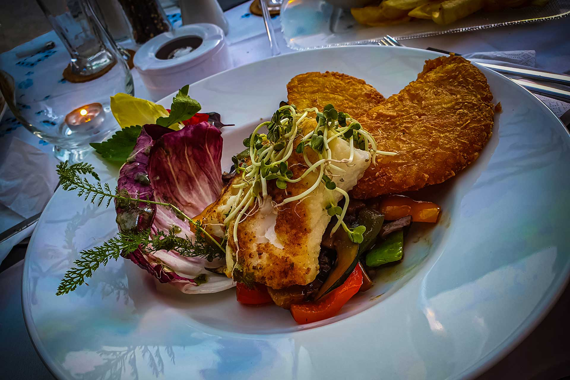 Speisen - Kabeljaurücken mit Tellerrösti - Restaurant Goldener Zwinger